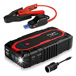 FlyHi N18 1200A Spitzenstrom Auto Starthilfe (7,0 l Gas / 6,5 l Diesel Motor) 12 V Starthilfe mit Dual Smart USB, 5/9/12 V Schnellladung, 12 V / 6A Ausgang, Zigarettenanzünderbuchse, LED Taschenlampe