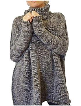 Mujer Jersey Cuello Alto Otoño Invierno Elegantes Moda Vintage Casual Talla Grande Pullover Color Sólido High...