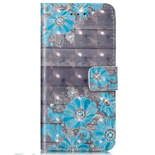 Surakey Coque Etui pour Huawei P8 Lite 2017 Motif Brillant Paillette Glitter Etui Housse Cuir PU Portefeuille Folio Flip Case Cover Wallet Coque Housse pour Huawei P8 Lite 2017,Bleu Fleur