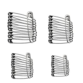 Assorted Safety Pins Pack of 48 - Selection of 4 Sizes (32, 40, 48, 56mm) Nickel Plated Pins - Crafting, Clothing, First Aid