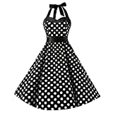 Sannysis Damen Elegant Kleider Neckholder Rockabilly 1950er Polka Dots Punkte Vintage Partykleid Retro Cocktailkleid Petticoat Faltenrock