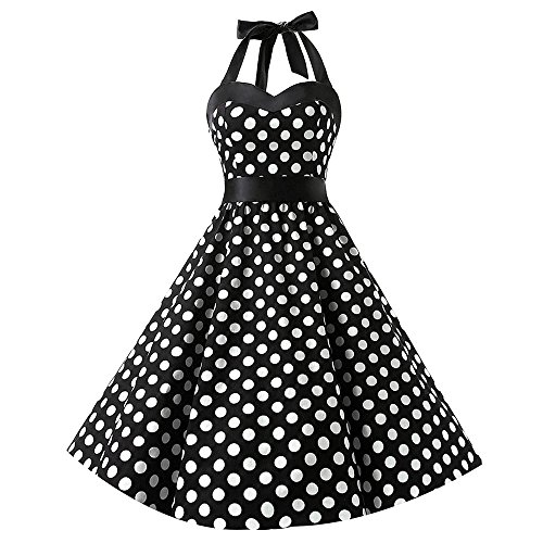 UFACE Damen V Ausschnitt Spaghetti Buegel Blumen Sommerkleid Elegant Vintage Cocktailkleid Kleider -