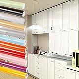 0.61x5M(BxL) Weiß Küchenschränke Aufkleber PVC Selbstklebend Küchenfolie Möbelfolie Klebefolie Schrankfolie Deko Tapeten