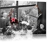 Pixxprint weihnachtlich dekoriertes Fensterbrett B&W Detail, Format: 100x70 auf Leinwand, XXL riesige Bilder fertig gerahmt mit Keilrahmen, Kunstdruck auf Wandbild mit Rahmen.