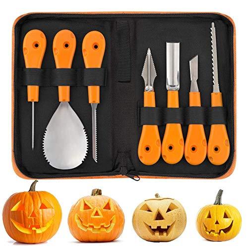 itzset, Halloween Kürbis Schnitzwerkzeuge,7 Stück Professionelles Kürbis Schnitzset, Robuste Edelstahl Pumpkin Tools Set für Erwachsene und Kinder ()