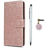 YOKIRIN Sony Xperia XA2 Phone Case, Sony XA2 Cases, Sunflower Embossed PU Leather Cases Viewing Stand Foldable Wallet Flip Cover with Card Holders and Dust Plug