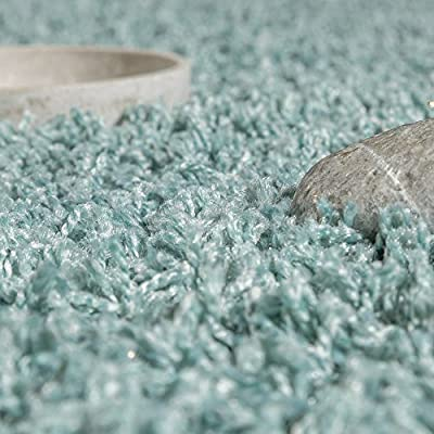 Shaggy Rug Deep-pile long-pile High Quality High thread density Plain Pastel turquoise - inexpensive UK light store.