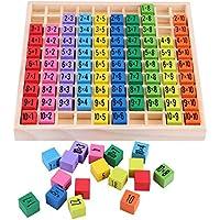 Zerodis Matemáticas Educativos Juguetes de Madera, Niños Matemáticas Aprendizaje Temprano Puzzle Toy 10x10 Tabla de Multiplicación para Preescolares Kindergarten Niños