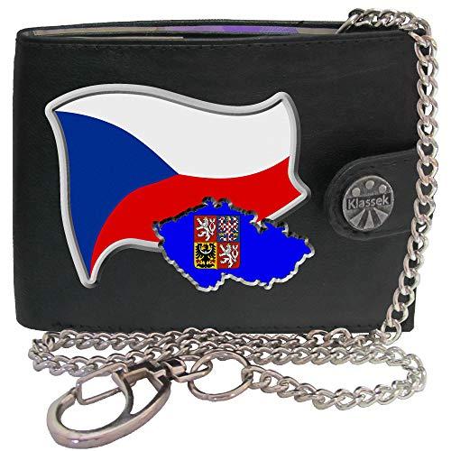 Czech REP Flag Tschechische Republik Flagge Karte Wappen Bild auf Herren Kette Geldbörse Portemonnaie KLASSEK Marken Echtes Leder RFID Schutz mit Münzfach Zubehör Geschenk mit Metall Box -