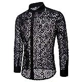 Herren Spitzen Design Lange Ärmel Freizeit und Mode Shirt(XXL,schwarz)