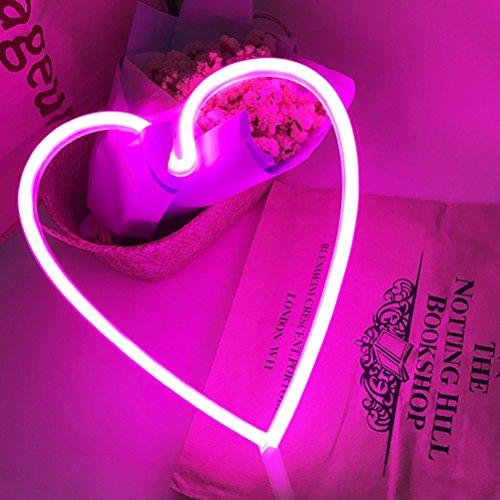 LEDMOMO Herz Lichter LED Romantische Nachttischlampe Batteriebetriebene Rosa Liebe Tischleuchten für Kinder Baby Decor Beleuchtung Geschenk für Liebhaber Freunde Mom Valentinstag