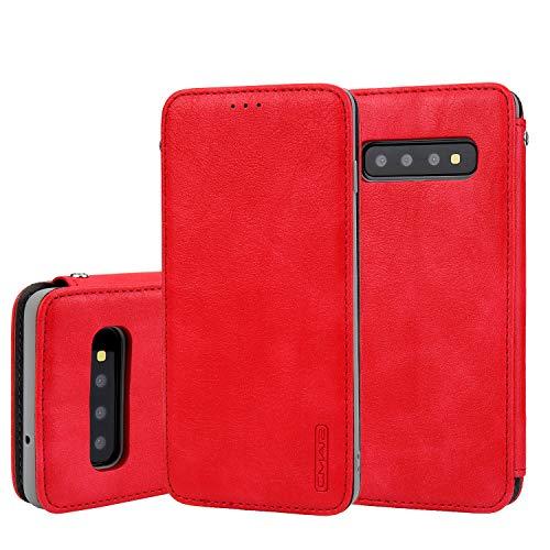 Serie Flip-top - (Tifightgo Samsung Galaxy S10 Hülle,Klassisch Cloud Skin Serie Premium Ultra Dünn Rot Leder Wallet Tasche Flip Brieftasche Book Case mit Kartenfach Ständer Schutzhülle Tasche für Samsung Galaxy S10)