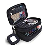 Trousse Make Up, Borsa Cosmetica, ONEGenug Borsa Make Up 20 * 12 * 8 cm Doppio Strato con Specchio per le Donne Nero