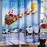 PvxgIo Bequem zu Verwenden 180x180cm Santa's Flight Weihnachten Badezimmer Duschvorhang Wasserdicht Wasserabweisend Bad Cartain Weihnachtsdekor mit 12 Haken