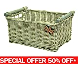 east2eden Driftwood Wash Wicker Storage Kitchen Draw Hamper Basket in Choice of Sizes & Deals (Large)
