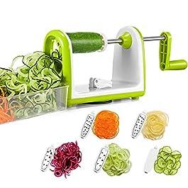 Bonsenkitchen Spiralizzatore, Spiralizer per verdure Affettatrice di verdure con 5 lame, Zucchine Spaghetti Maker Zoodle…