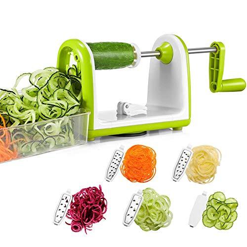 Bonsenkitchen Gemüse Spiralschneider, Gemüseschneider 5 Klingen-Spiralschneider für Veggie-Spaghetti-Nudeln, Salat mit Lebensmittelbehälter, leistungsstarker Saugnapf (VS8831)