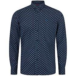 merc SOTHEBY, langärmliges Hemd für Männer mit kleinformatigem Geometrischem Aufdruck und Knopfverschluss, Blau, Large