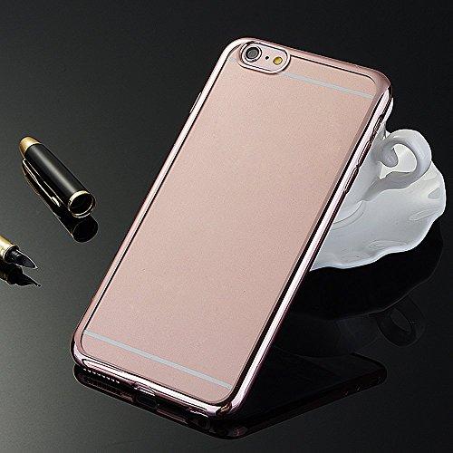 Skitic Coque iPhone 6 Plus / 6s Plus Plaqué Bumper Housse Etui TPU Silicone Clair Transparente Ultra Mince Case Cover Coque de Protection Téléphone Accessories pour Apple iPhone 6 Plus/6S Plus 5,5 Pou Rose