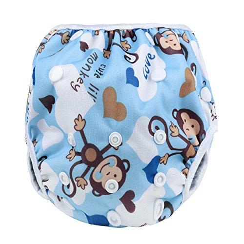 Sijueam Schwimmwindel Waschbar Mehrwegwindeln Baby Diapers Wasserdicht Windelhosen Unisex Einheitsgröße Einstellbar Badeshorts Leakproof Wassersport Bademode – Blue Monkey - 2