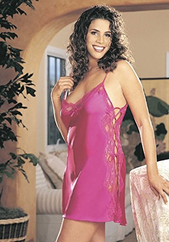 Shirley of Hollywood Nummer X20015Größe 3X Passion Pink Charmeuse Schnürschuh Chemise (Match Lace Chemise)