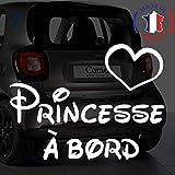 Sticker bébé à bord pour voiture Princesse à bord 20 cm Blanc - Anakiss