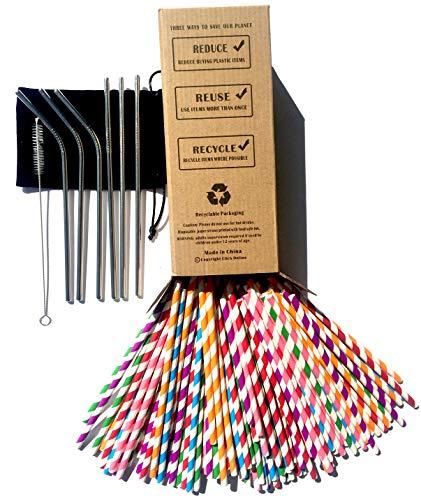 Pajitas de papel biodegradables x 150 unidades Bulk,6 pajitas de acero inoxidable reutilizables de metal para beber – respetuosas con el medio ambiente 100% reciclado embalaje 3 x recto 3 x cepillos de limpieza dobles bolsa para suave, regalo para niños, fiesta, cumpleaños, boda, sin plástico clic en línea