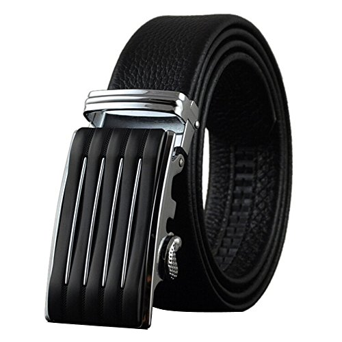 Boshiho - Leather belt for men, genuine leather, black, ratchet, automatic buckle, adjustable, belt XXXL Black Black 13 130cm
