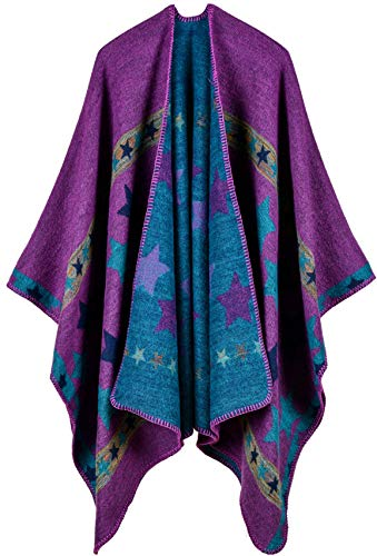 (Damen Poncho Herbst Winter Kariert Capes Patchwork Strickjacke Mehrere Funktion (One Size, Sterne / Lila))