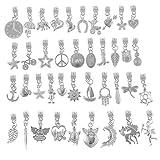 Rubyca: versilberte Charmarmband-Anhänger mit Metallanschlüssen, Tibet-Silber , metall, Mix 301, 80 PCS