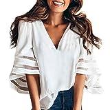 3d165f1be800 Camicetta Elegante Rcool Maglietta con top a t-shirt a tromba tinta unita  da donna