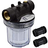 Agora-Tec AT-Wasserfilter 1L, mit Max. Betriebsdruck: 4 bar, Max. Durchflussmenge: 3000 l/h, Maschenweite Filtersieb: 0,2 mm, Anschlüsse: 1 Zoll (30,3 mm) IG Messingbuchsen
