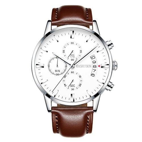 Kashidun Herren Sports Fan Uhren Casual Quarz Wasserdicht Chronograph Datum Leder watches-white. tl-ybzp