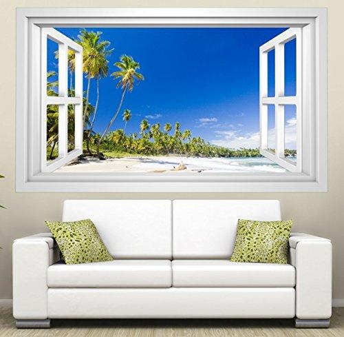 3D Wandmotiv Meer Strand Wasser Sand Palmen Sonne Fenster Wandbild Wandtattoo Wohnzimmer Wand Aufkleber 11E290, Wandbild Größe E:ca. 168cmx98cm (Fenster Aufkleber Palmen)