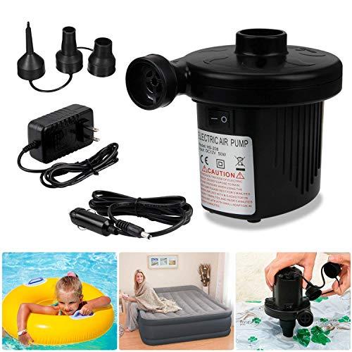 WYFFYFF Elektrische Luftpumpe,Luftpumpe 2 in 1 Elektropumpe mit 3 Luftdüse ür Home Camping Luftmatratzen, planschbecken, Schlauchboote Aufbl?hungen und Deflates -
