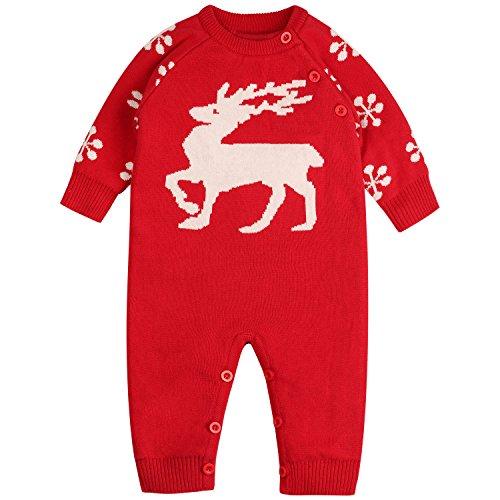 Zoerea Baby Mädchen Junge Neugeborenes Strick Strampler Lange Ärmel Watte Weihnachten warme Pullover mit Elch Hirsche Schneeflocke Muster Mantel (0-22 Monate)