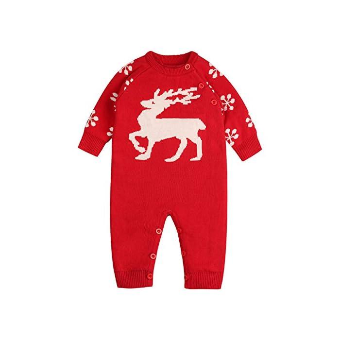 Zoerea Baby Mädchen Junge Neugeborenes Strick Strampler Lange Ärmel Watte Weihnachten warme Pullover mit Elch Hirsche…