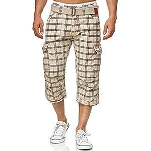 Indicode Herren Nicolas Check 3/4 Karierte Cargo Shorts inkl. Gürtel aus nachhaltiger Baumwolle