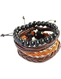 8d33c4e09571 Lorsoul Las Capas múltiples Pulsera de los Granos de los brazaletes de la  PU Pulsera de Moda de Cuero de la Cadena…