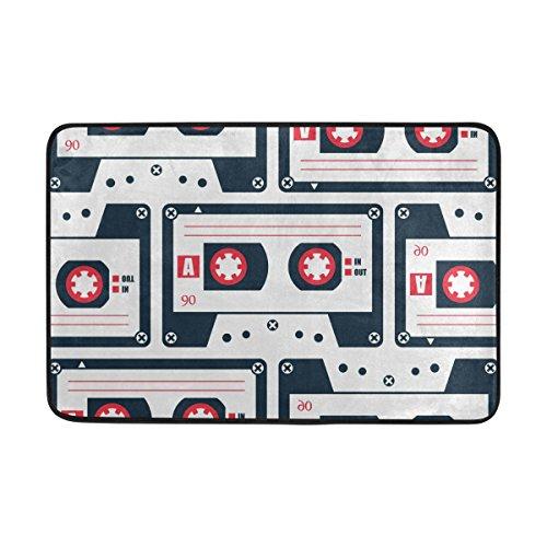 COOSUN Estilo Retro Cassette Felpudo patrón de la Cinta, Entrada de Forma Cubierta Exterior Alfombra Puerta con Cubierta Antideslizante, (23,6 por 15,7 Pulgadas) 23.6x15.7 Pulgadas