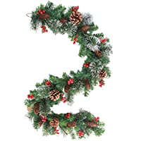 إكليل أوسلادي بإضاءة الكريسماس من مجموعة تزيين الكريسماس بأوراق الصنوبر إبرة أحمر التوت إكليل إكليل إكليل زهور عطلة عيد الميلاد الباب الأمامي جدار الموقد لتزيين لوازم حفلات الكريسماس