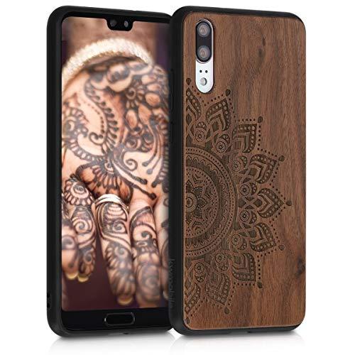 kwmobile Holz Schutzhülle für Huawei P20 - Hardcase Hülle mit TPU Bumper Walnussholz in Aufgehende Sonne Design Dunkelbraun - Handy Case Cover