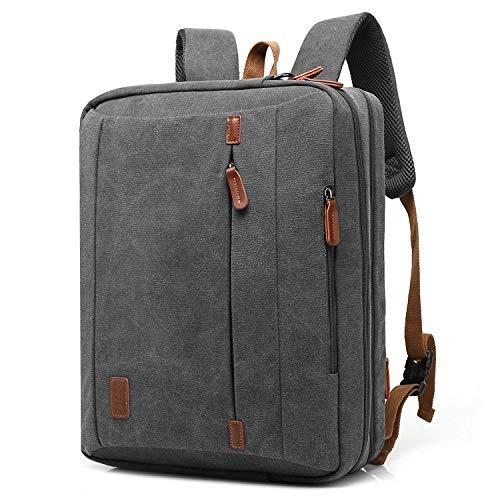 CoolBELL 17,3 Zoll umwandelbar Laptop Tasche / Rucksack Messenger Bag Canvas Gewebe Umhängetasche Business Briefcase Backpack Mehrzweck Aktentasche für Laptop / Macbook / Tablet / Herren / Damen(Dunkel Grau)