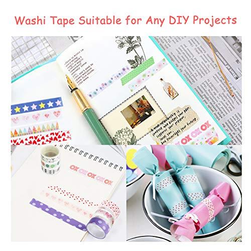 Buluri 50 Rollos de Cinta Adhesiva Washi Cinta Adhesiva Decorativa para Scrapbooking DIY Manualidades