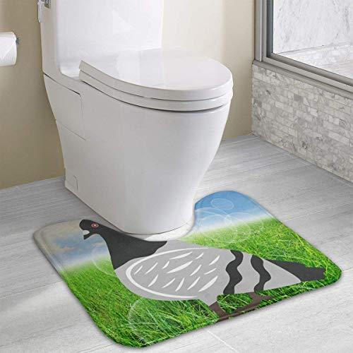 Hoklcvd Tappeto per WC a Forma di U Pigeon Tappeto per WC con Tappetino Antiscivolo