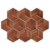 F Fityle 10 Stück 3D Mosaik Hexagon Fliesenaufkleber Wandaufkleber Küche Bad Fliesenfolie Klebefolie, Farbwahl - braun