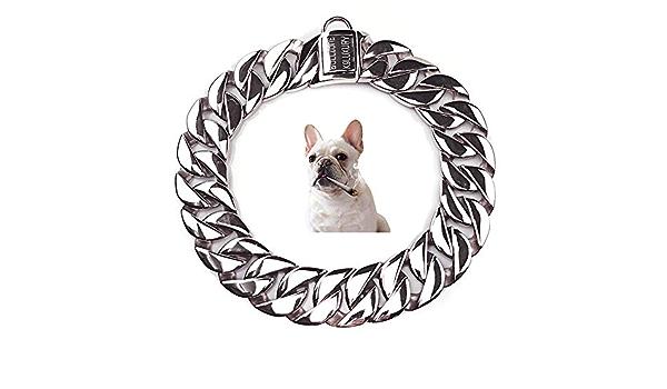 UTOPIAY Schweres Hundehalsband Mit Hundekopfschloss Kubanisches Halsband-Trainingshalsband Aus Edelstahl Geburtstagsgeschenk F/ür Bully Pitbull,Gold,70CM 32 Mm Sch/ädel-Hundekettenhalsband