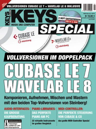 KEYS Special 1/2015 Cubase LE 7 + Wavelab LE 8 Vollversionen
