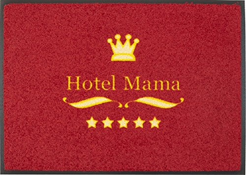 Fußmatte / Fussmatte / Fußabstreifer / Fußabtreter / Fussabstreifer / Fussabtreter / Schmutzmatte / Sauberlaufmatte / Türfussmatte / Türmatte / Schmutzfangmatte / Matte / Schmutzmatte / robuste Fußmatte / Abstreifer / Schuhmatte / Schuhabtreter / Modell Hotel Mama Fußmatte / rot / 5 Sterne Hotel