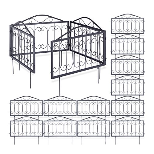 16er Beetzaun Set GOTH, Beeteinfassung zum Stecken, 16 Zaunelemente, nostalgische Beetbegrenzung, 4,5 m